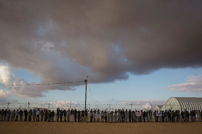 African asylum seekers protest, Holot detention center, Israel, 17.2.2014.