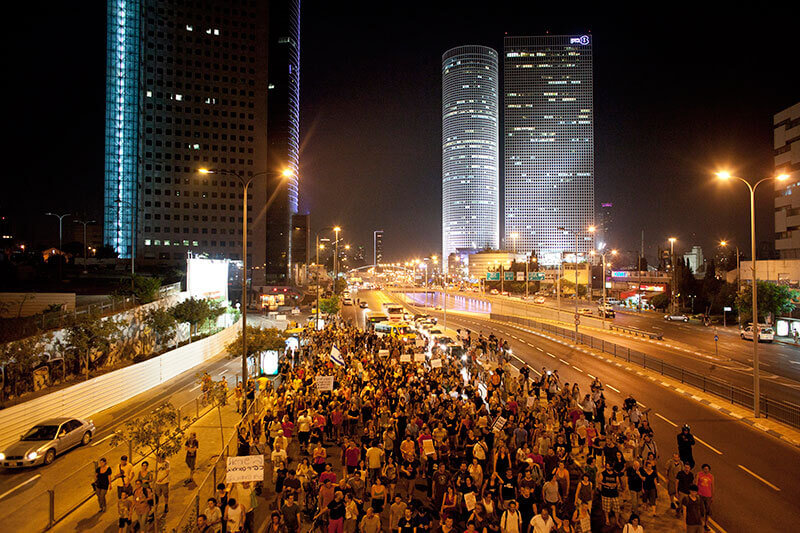 Social justice protesters block major roads in Tel Aviv, Israel, July 15, 2012.