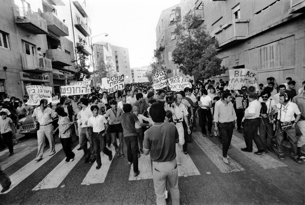 Demonstration gegen Diskriminierung, Black Panther Israel, 1973.